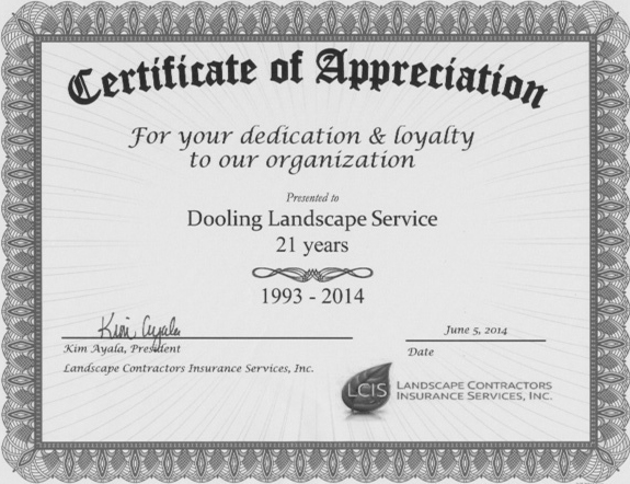 Certification of Appreciation - Dooling Landscape Service